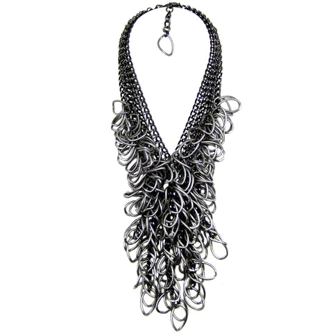 #957n Black Chain & Gunmetal Link Long Fringed Bib Necklace
