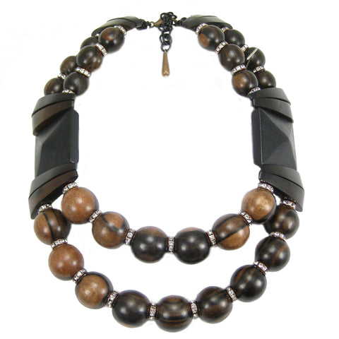 #959n Ebony Wood & Rhinestone Bib Necklace