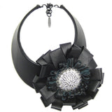 #970n Black Leather Choker With Leather Flower & Rhinestone Button