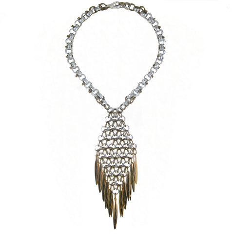 #975n Silver & Gold Tone Chain Mail Pendant Necklace With Spike Fringe