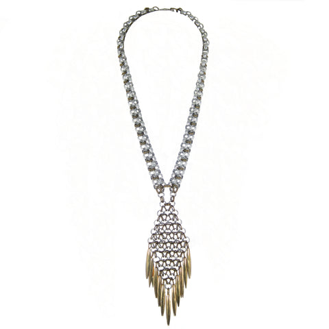 #975nl Silver & Gold Tone Chain Mail Long Pendant Necklace With Spike Fringe