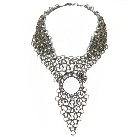 #976n Silver & Gold Tone Chain Mail Bib Necklace