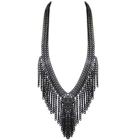 #980n Black/Silver Chain Long Fringed Bib Necklace