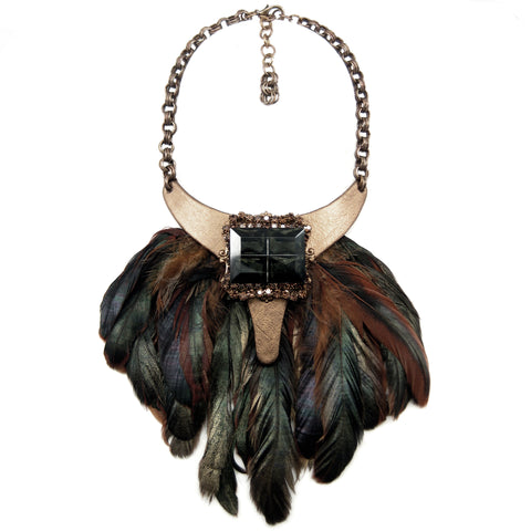 #982n Gold, Tan & Emerald Tone Bib Necklace With Feather Fringe