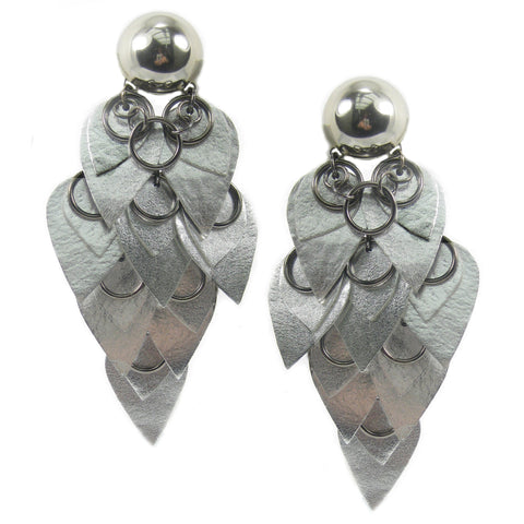 #990e Silver Leather Scales & Metal Ring Shoulder Duster Earrings