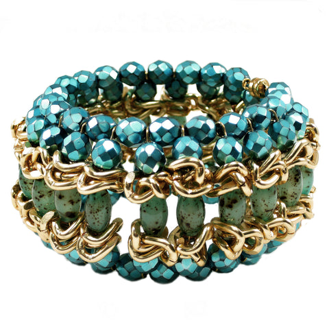#991b Turquoise, Aquamarine and Gold Tone Cuff Bracelet