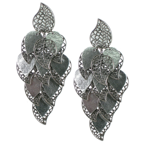 #991e Silver Tone Leather & Filigree Leaf Oversized Cascade Earrings