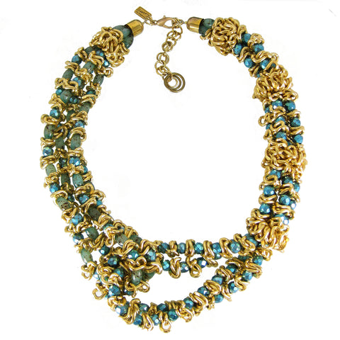 #991n Turquoise, Aquamarine & Gold Tone Deconstructed Chain Multi Strand Necklace