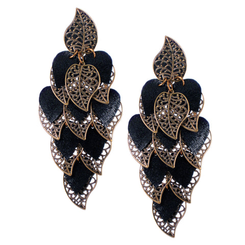 #992e Old Gold Tone Filigree & Black Leather Oversized Cascade Earrings