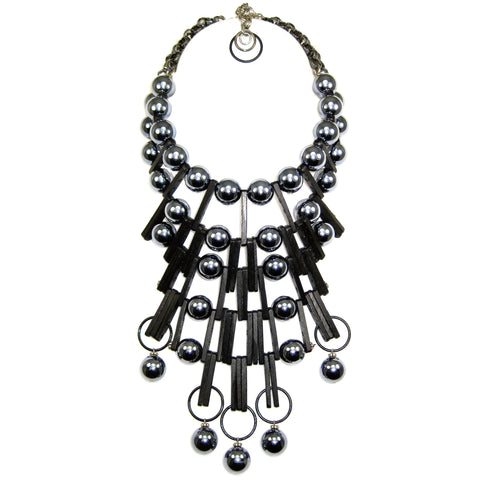 #992n Gunmetal & Black Architecture-Inspired Statement Bib Necklace