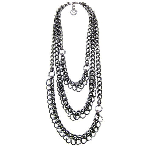 #993n Gunmetal Long Chain Necklace With Ring Detail