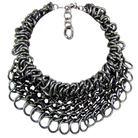 #994n Gunmetal Chain Mail Choker/Bib Necklace With Ring Fringe