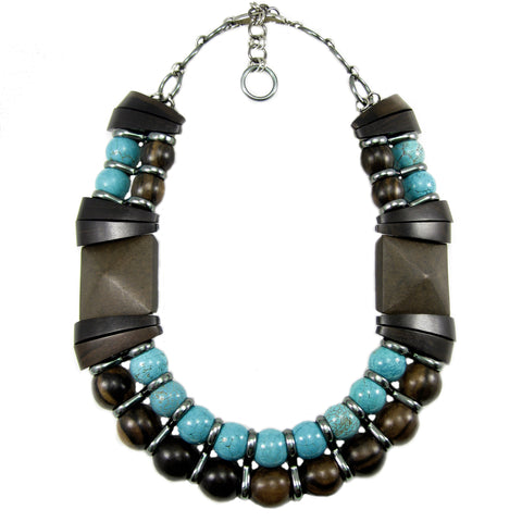 #995n Ebony Wood, Turquoise & Gunmetal Bib Necklace