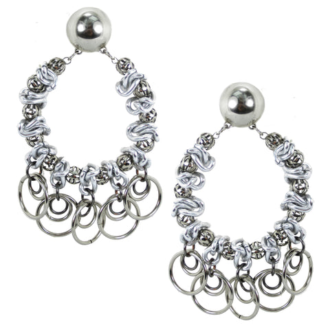 #996e Silver Tone Deconstructed Chain & Ring Hoop Earrings