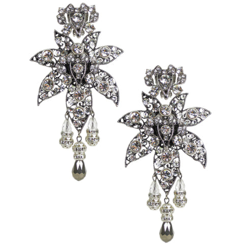 #1034e Statement Making Silver Tone Filigree & Rhinestone Drop Earrings