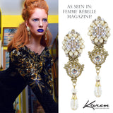 #1050e Gold Tone Filigree & Floral Drop Earrings With Crystal & Rhinestone