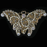 #799p Crystal Rhinestone & Gold Tone Filigree Butterfly Pin