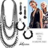 #777e Black/Silver Chain Mail Rope & Jet Glass Drop Earring With Button Top