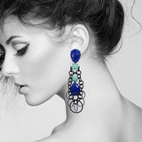 #1038e Cobalt Blue, Aqua & Black Long Drop Earrings