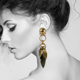 #1075e Old Gold Fringed Drop Earrings