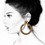 #883e Gold Tone Metal Mesh Hoop Earrings With Button Top