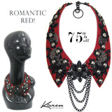 #1017n Red Leather Collar Necklace With Gunmetal & Black Floral Detail
