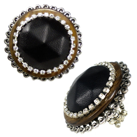 #818r Oversized Black Leather & Mother Of Pearl Ring