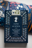 Jane Austen playing cards are packaged in beautiful navy tuck case with gold accents.