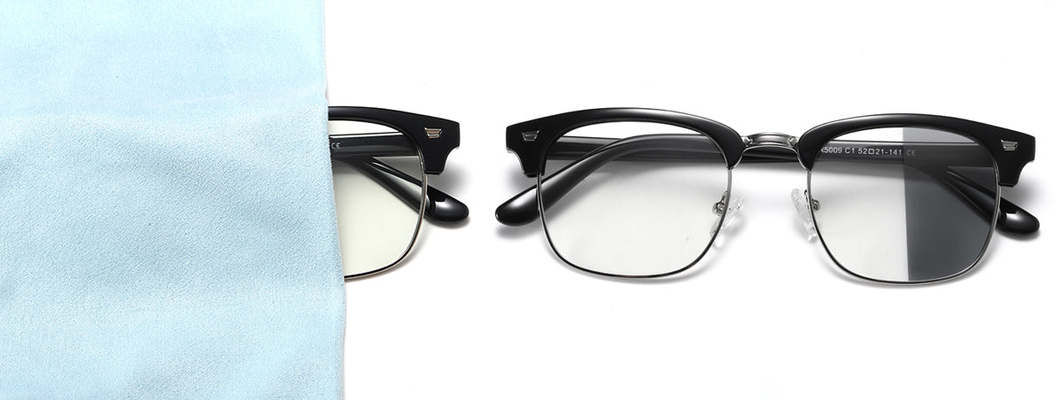 Ark anti blue-light glasses with photochromic lenses.