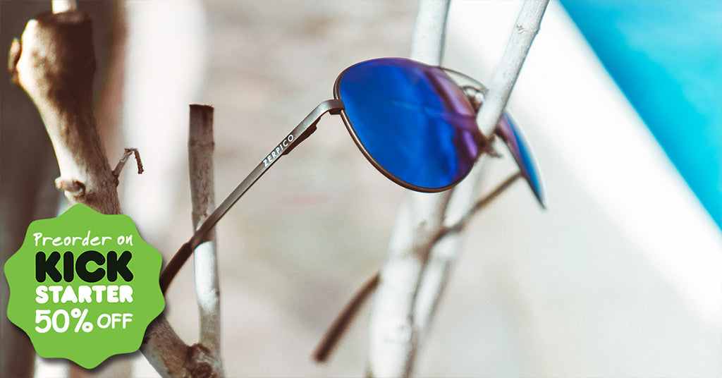 Titan titanium aviator sunglasses with changeable lenses on kickstarter.