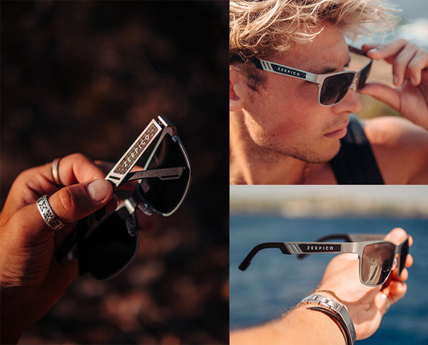 Our wayfarer titanium sunglasses made of high grade titanium. Classic gun metal color and with changeable lenses.
