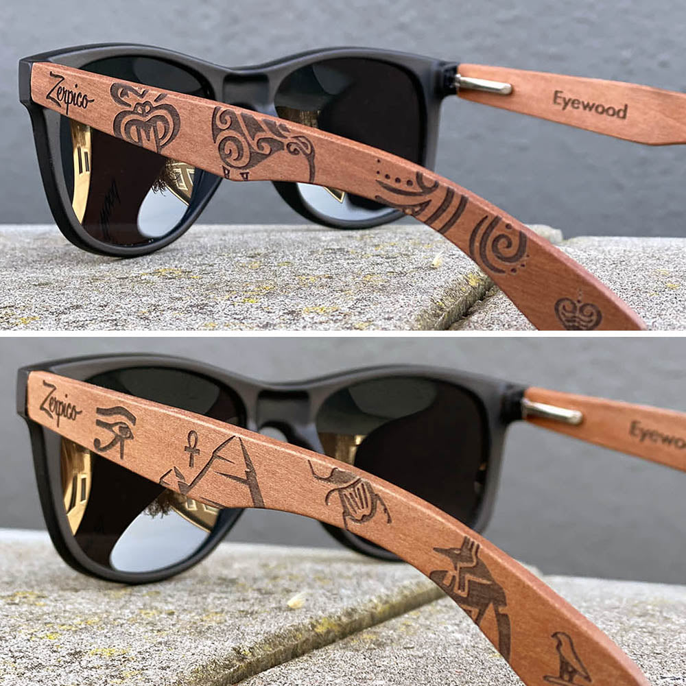 Eyewood engraved wooden sunglasses, tribal and relic designs.
