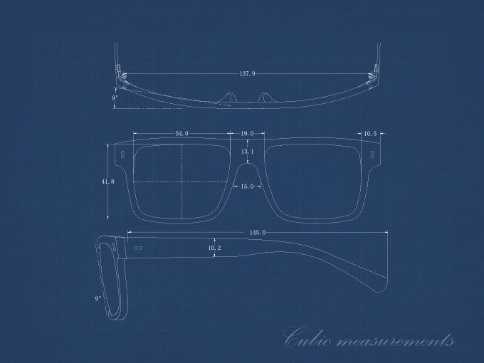 Size of our Cubic model sunglasses.