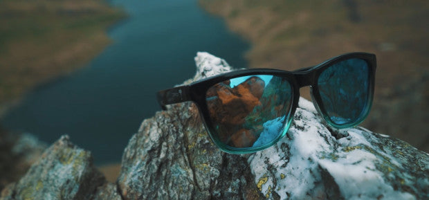 Mood Wayfarer Sunglasses Frosty, blue mirror lenses.