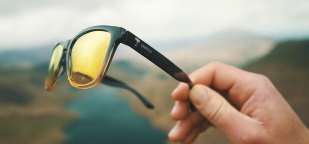 Mood Wayfarer Sunny Sunglasses, with yellow mirror lenses.