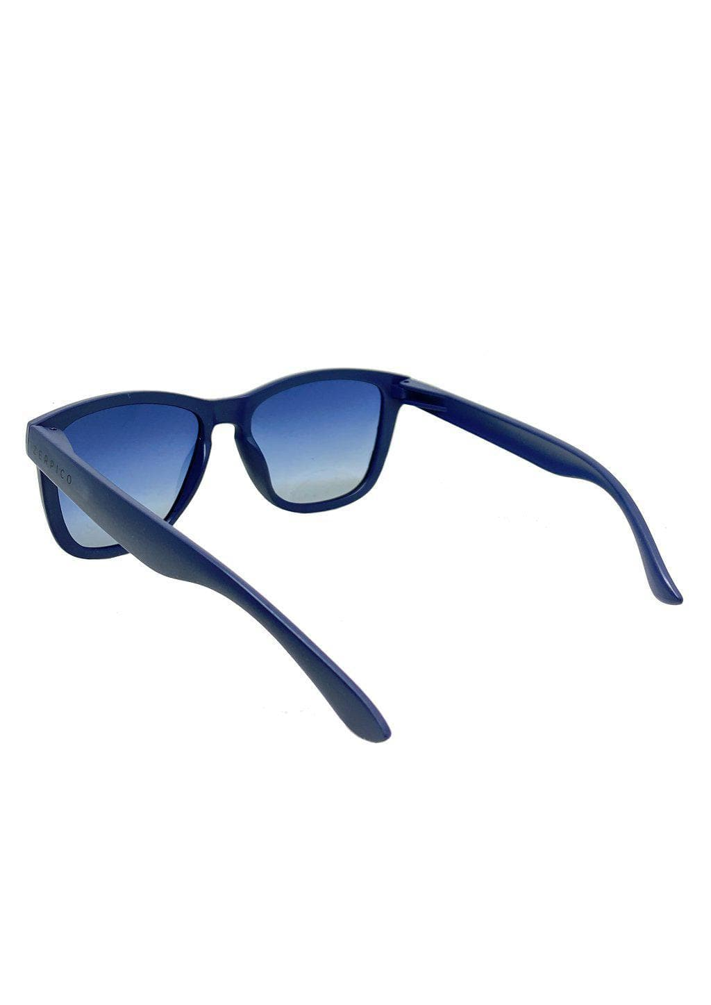 Our Mood V2 is an improved version of our last wayfarers. Plastic body for great quality and durabilty. This is Navy with a matte blue frame and gradient blue lenses. Studio shoot from the back.