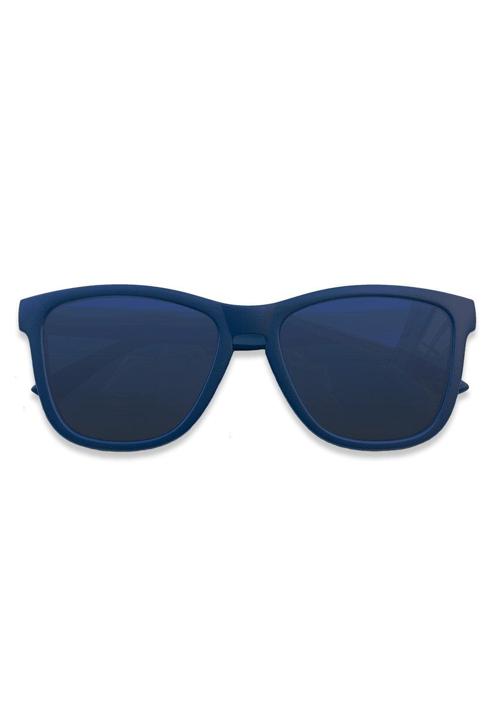 Our Mood V2 is an improved version of our last wayfarers. Plastic body for great quality and durabilty. This is Navy with a matte blue frame and gradient blue lenses. From the front.