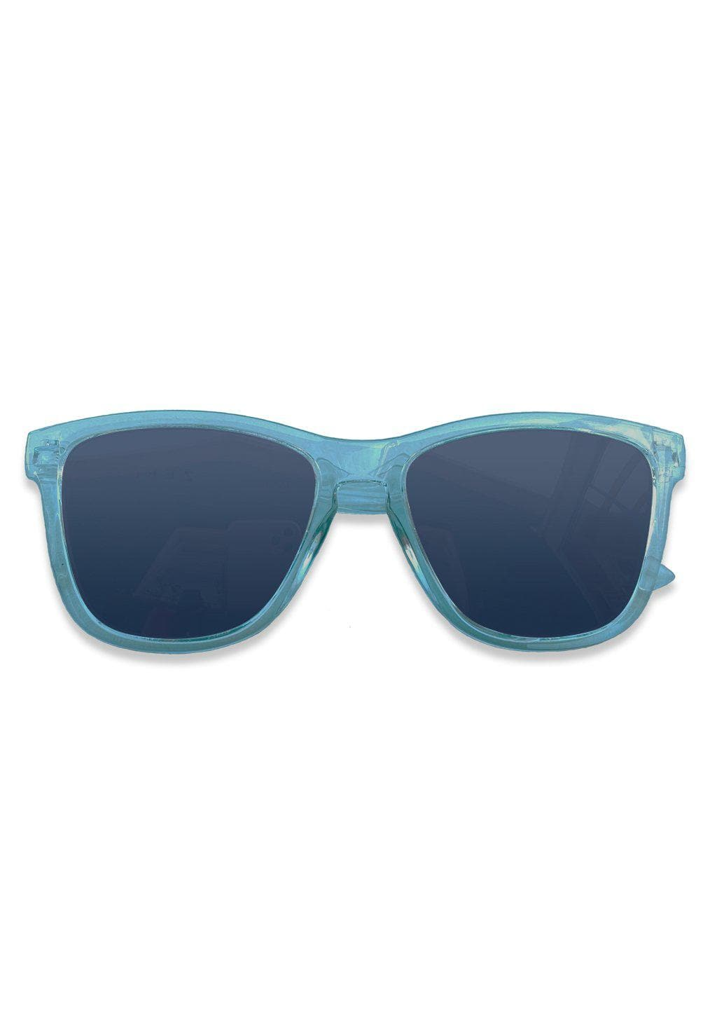Our Mood V2 is an improved version of our last wayfarers. Plastic body for great quality and durabilty. This is Belize with blue frame and blue lenses. From the front.