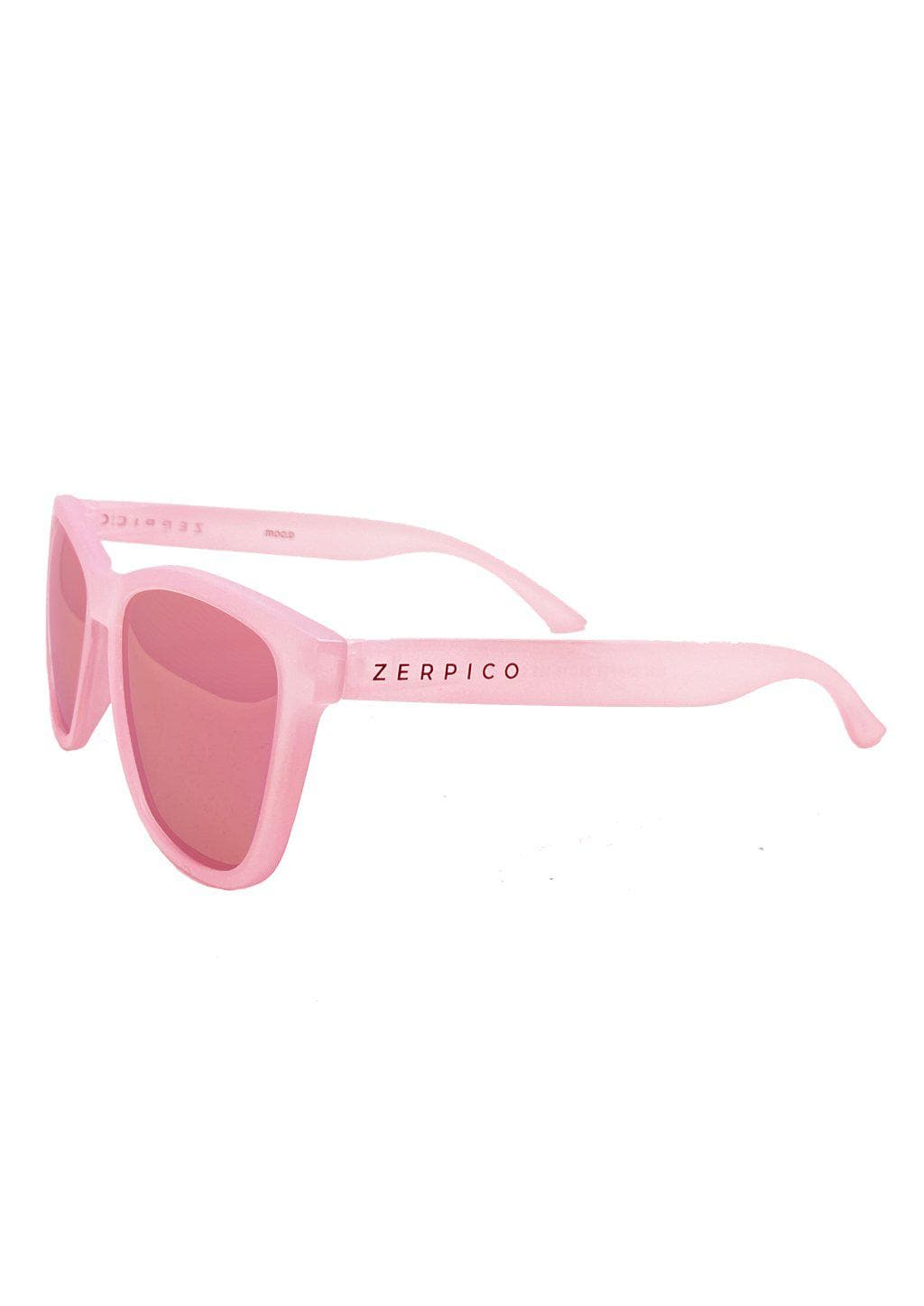 Our Mood V2 is an improved version of our last wayfarers. Plastic body for great quality and durabilty. This is Flamingo with a pink transparent frame and pink mirror lenses. Studio shoot from the side.