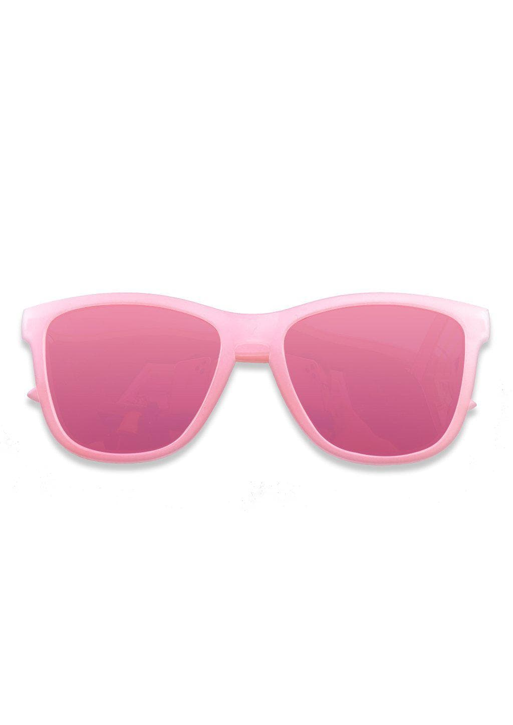 Our Mood V2 is an improved version of our last wayfarers. Plastic body for great quality and durabilty. This is Flamingo with a pink transparent frame and pink mirror lenses. From the front.