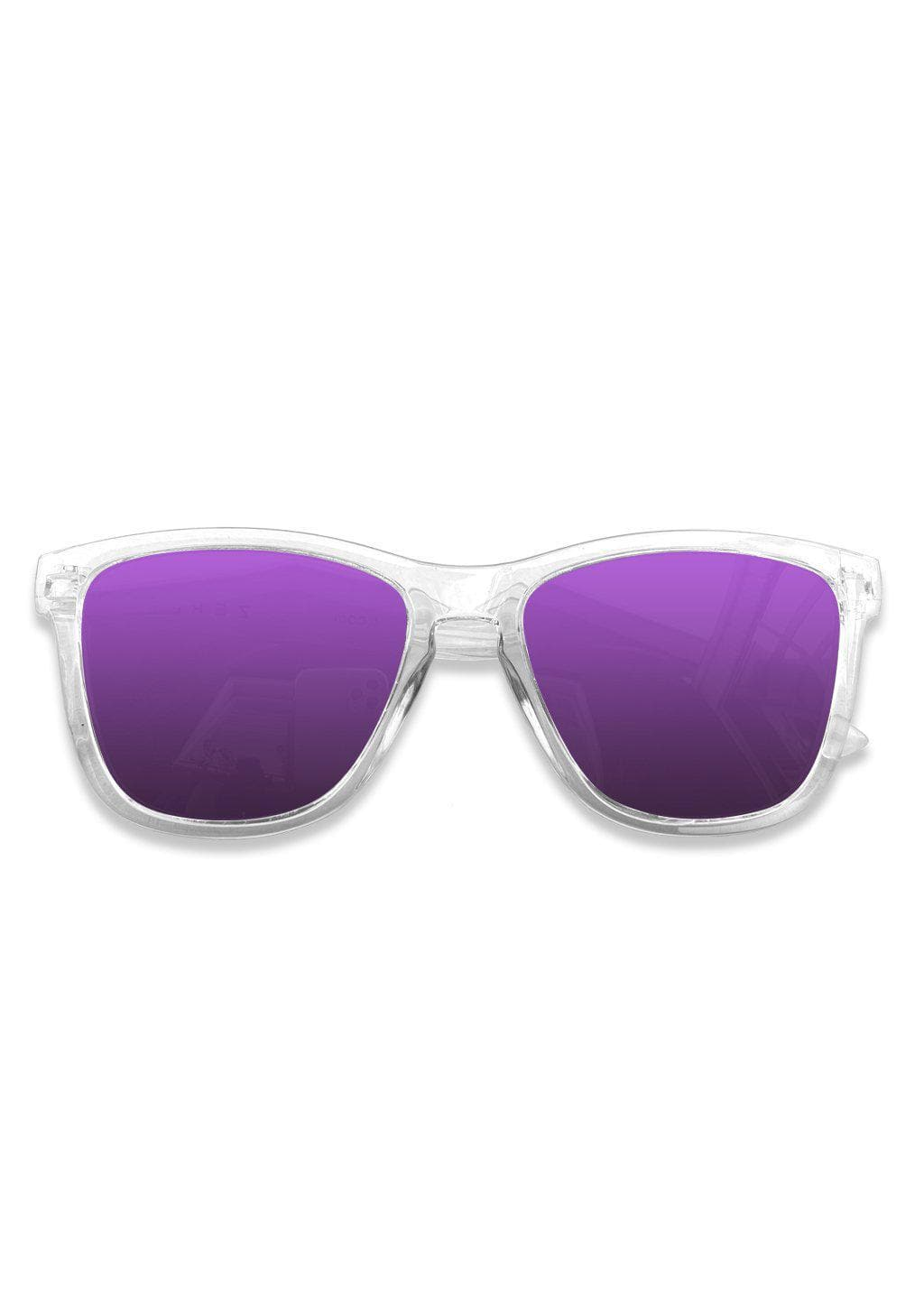 Our Mood V2 is an improved version of our last wayfarers. Plastic body for great quality and durabilty. This is Lucid with transparent frame and purple mirror lenses. From the front.