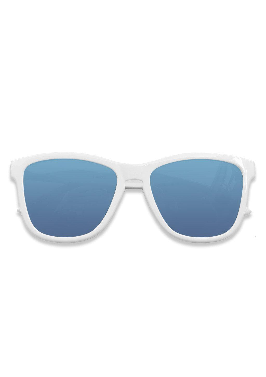 Our Mood V2 is an improved version of our last wayfarers. Plastic body for great quality and durabilty. This is Husky with white frame and blue lenses. From the front.