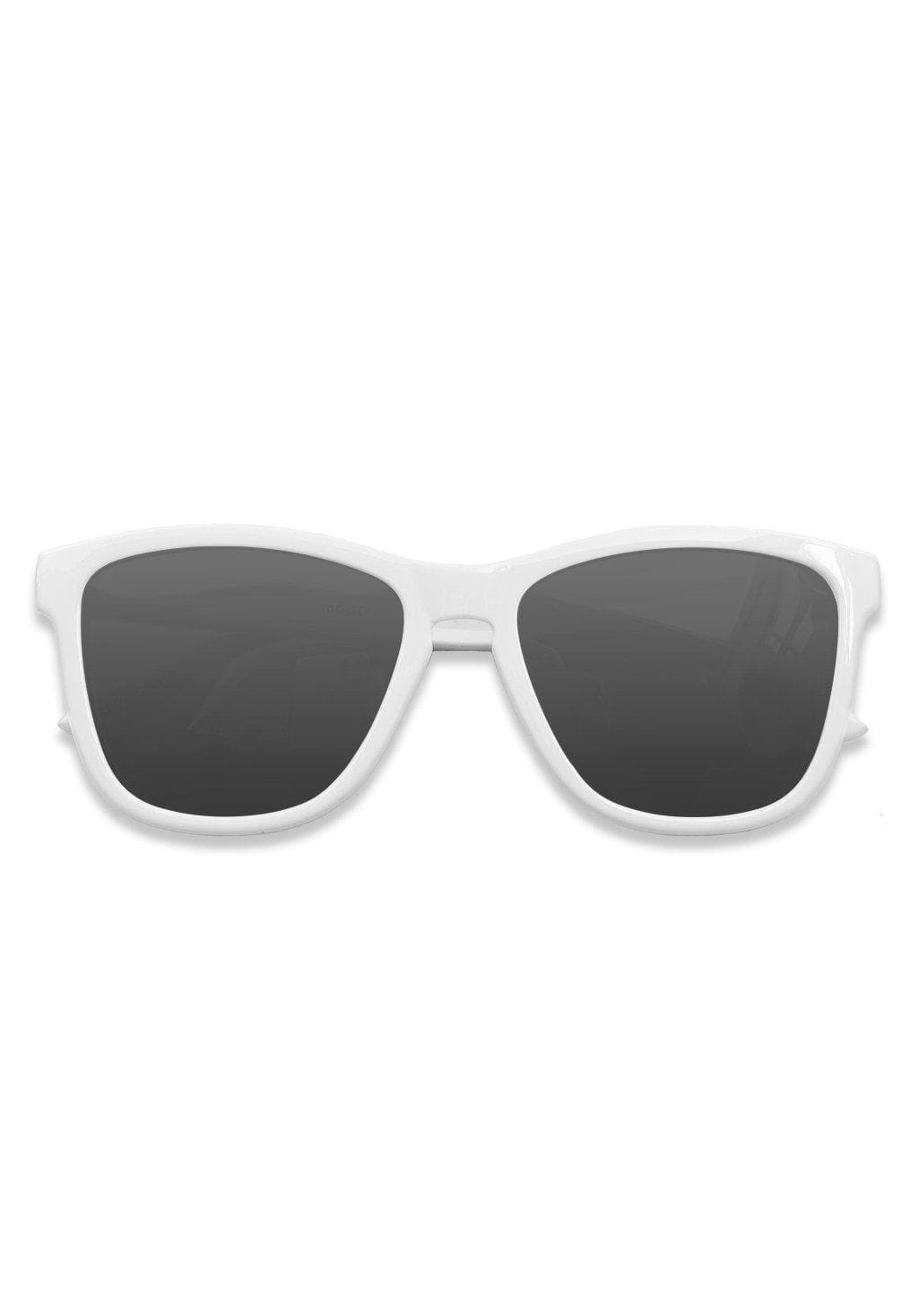 Our Mood V2 is an improved version of our last wayfarers. Plastic body for great quality and durabilty. This is Ace with white frame and black lenses. From the front.
