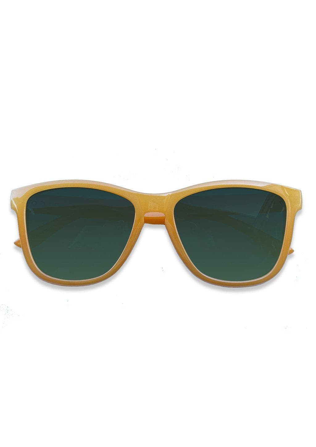 Our Mood V2 is an improved version of our last wayfarers. Plastic body for great quality and durabilty. This is Lemon with yellow frame and green lenses. From the front.