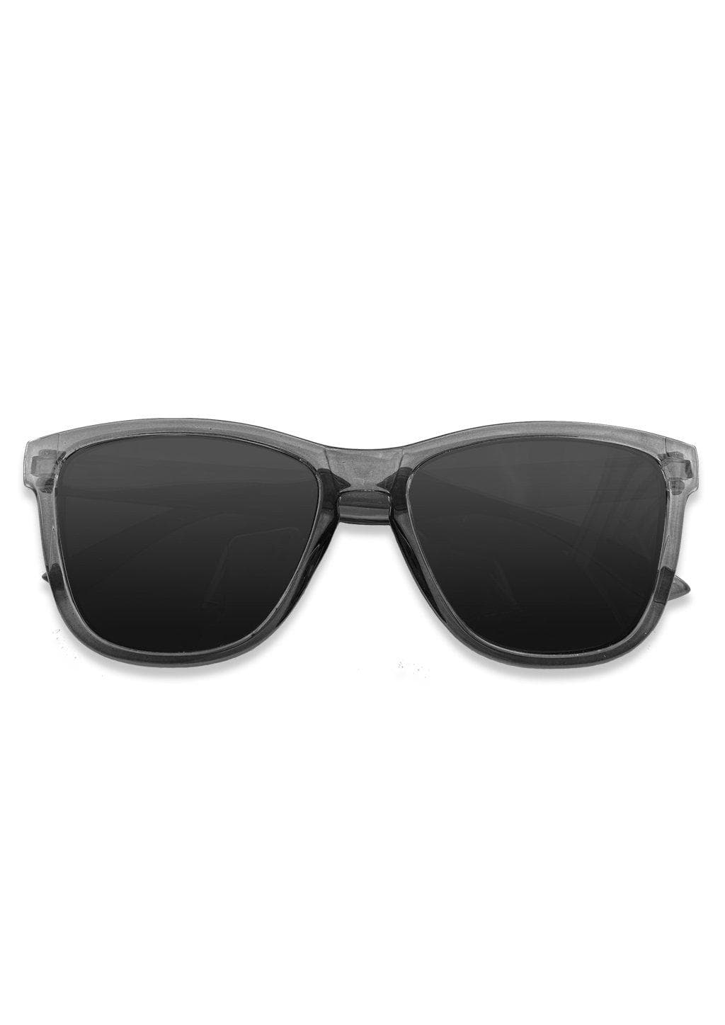 Our Mood V2 is an improved version of our last wayfarers. Plastic body for great quality and durabilty. This is Classic with a dark transparent frame and grey lenses. From the front.
