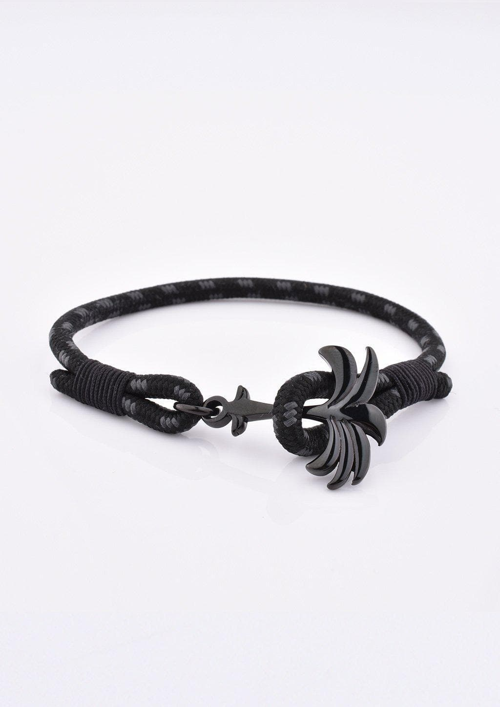 Phantom Black - Single - Season two Palm anchor bracelet with black and grey nylon band.