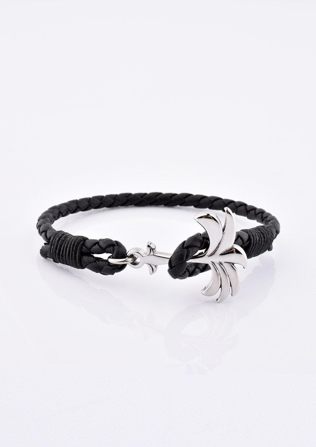 Starlight - Season two Palm anchor bracelet with black leather.
