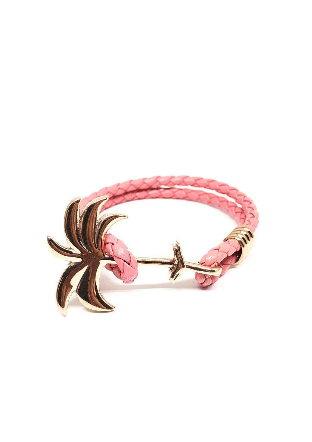 Flamingo Rose - Palm anchor bracelet with pink leather.