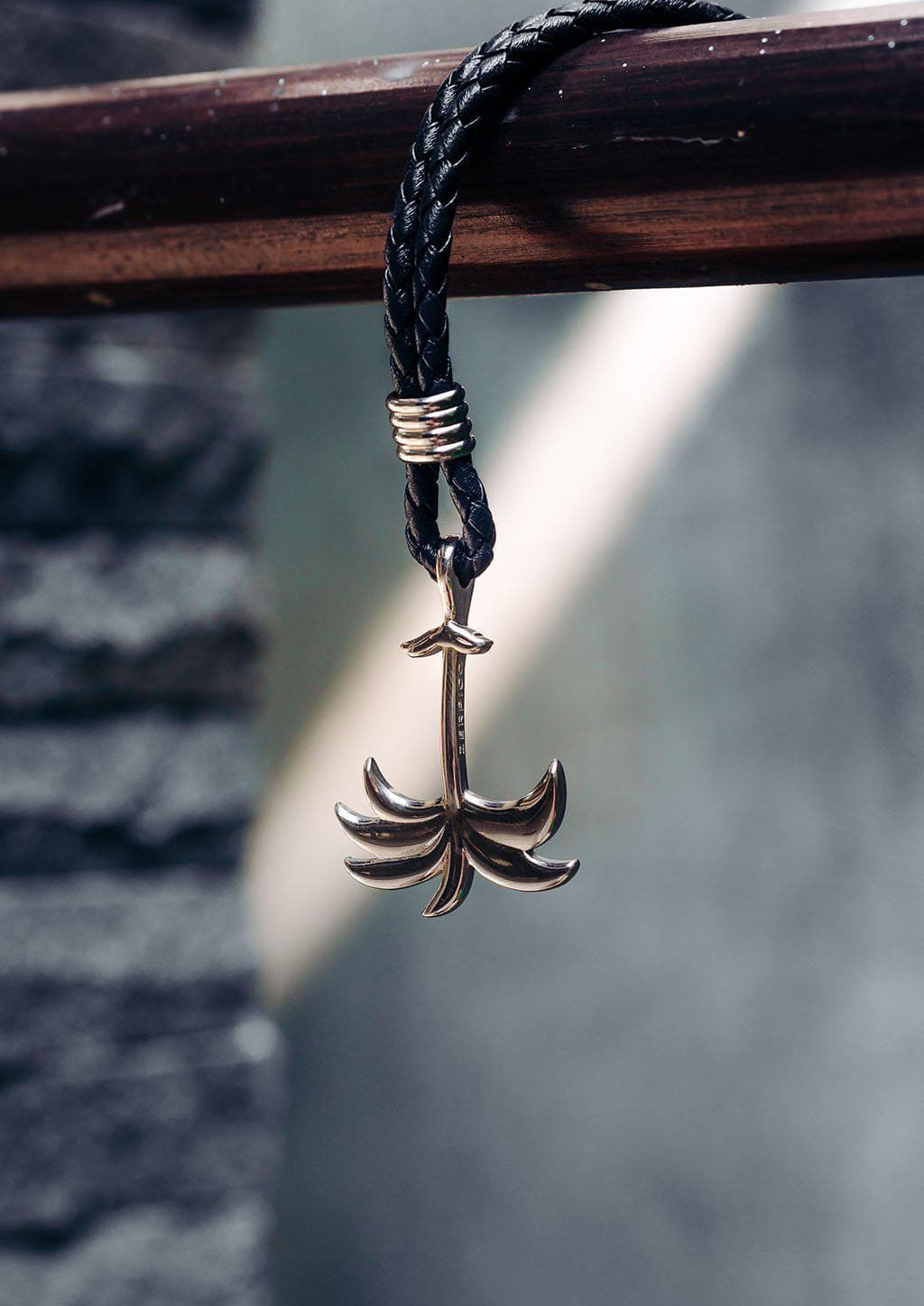Twilight Silver - Palm anchor bracelet with black leather. Outdoor shoot.