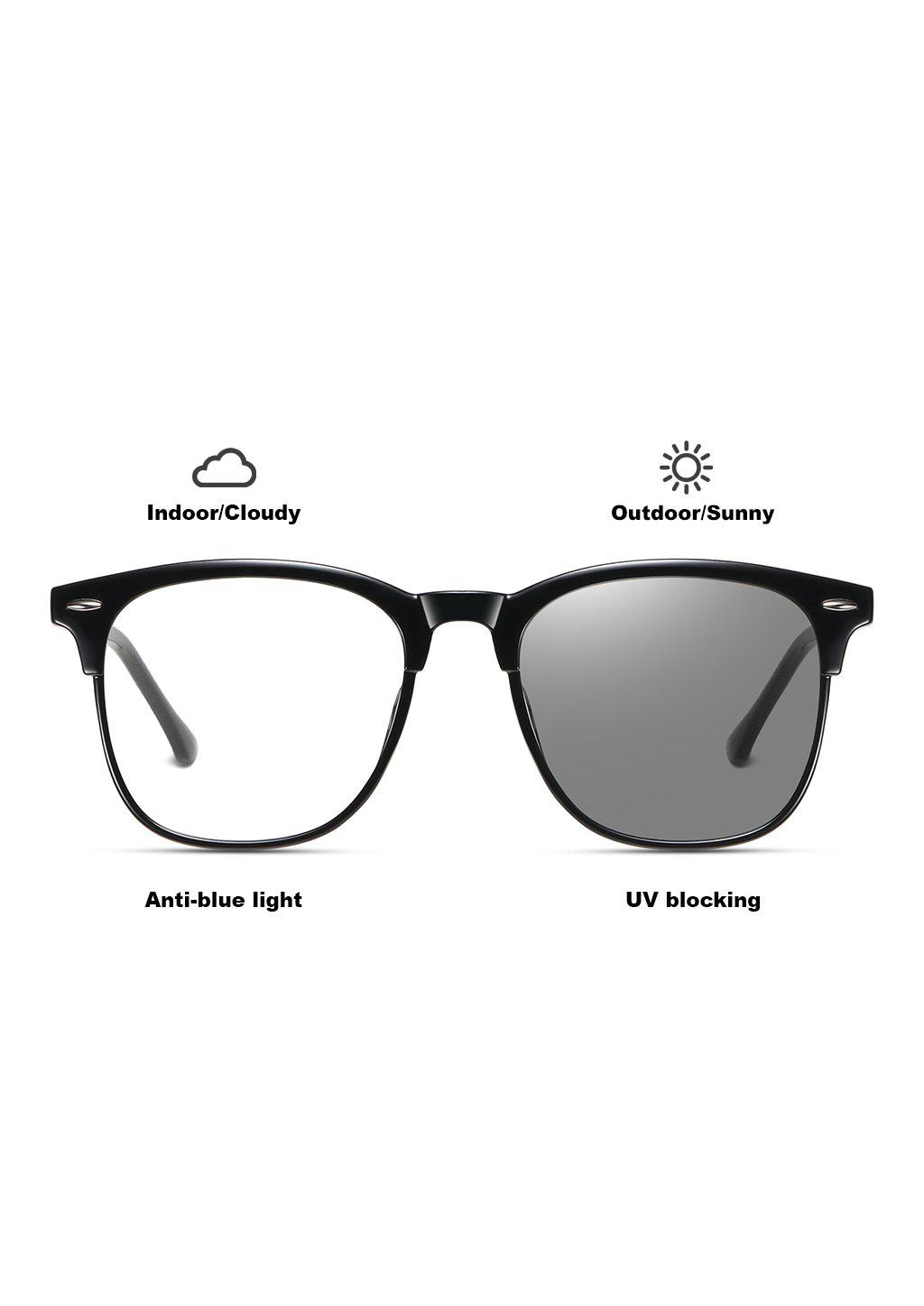 Icon Photochromic anti bluelight glasses that work like two in one. Turns dark in the sun and clear inside.